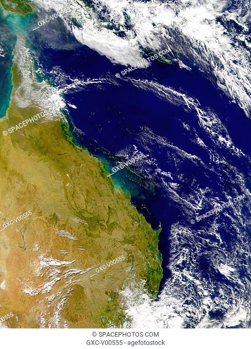 This satellite image of the Great Barrier Reef and the Coral Sea provides an uncommonly clear view of this area of Australia