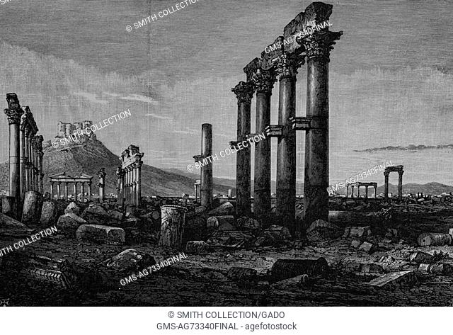 Wood engraving depicting columns and stone ruins, a castle at the top of a hill in the background, captioned 'View of Palmyra, from the Grand Colonnade
