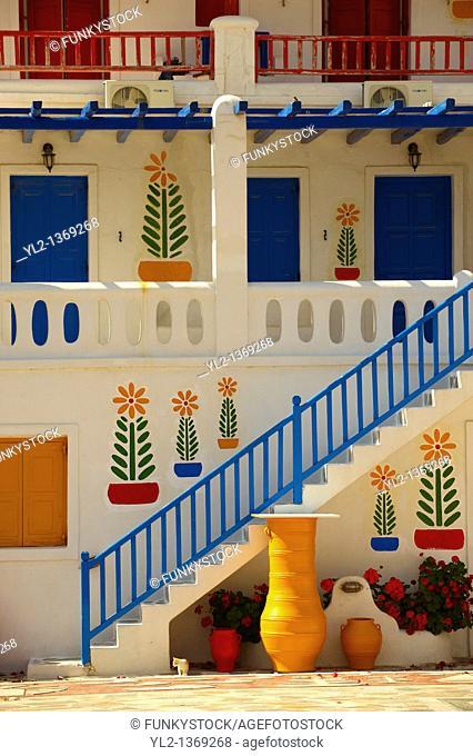 House decorated with traditional folk art  Mykonos, Cyclades Islands, Greece