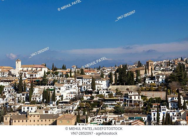 View of the Arab quarter (el Albaicin) of the town of Granada from the Alhambra Palace - Granada, Spain