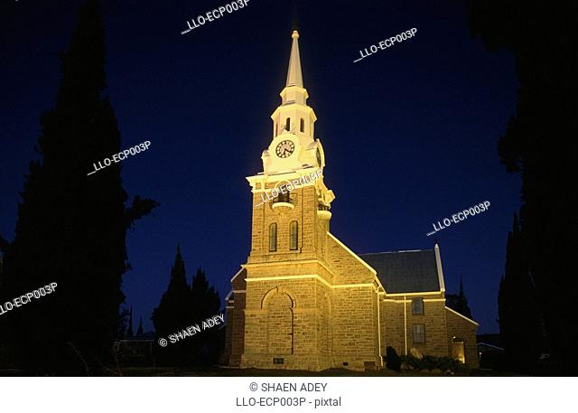 Portrait of The Dutch Reformed Church at Dawn  Sutherland, Karoo, Western Cape Province, South Africa