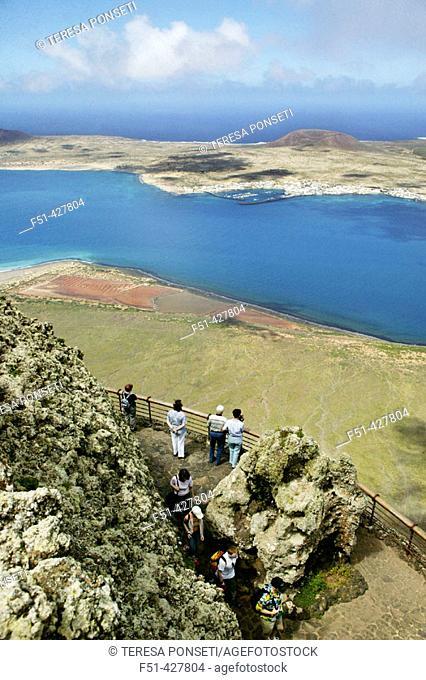 La Graciosa island as seen from Lanzarote, Canary islands. Spain