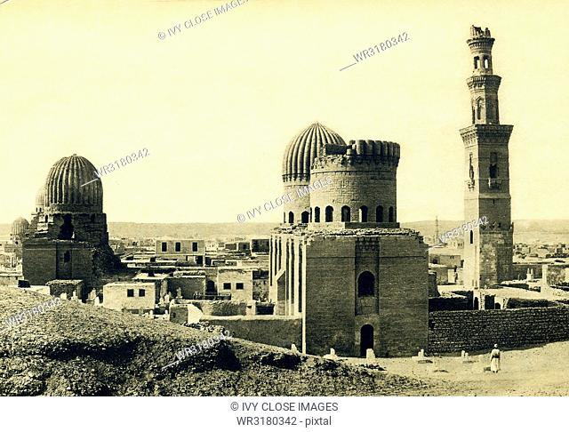 This photo dates to around 1900 and shows the Tombs of the Mamluks in Cairo. The Mamluks were slave soldiers and served the Muslim caliphs and the Ottoman...