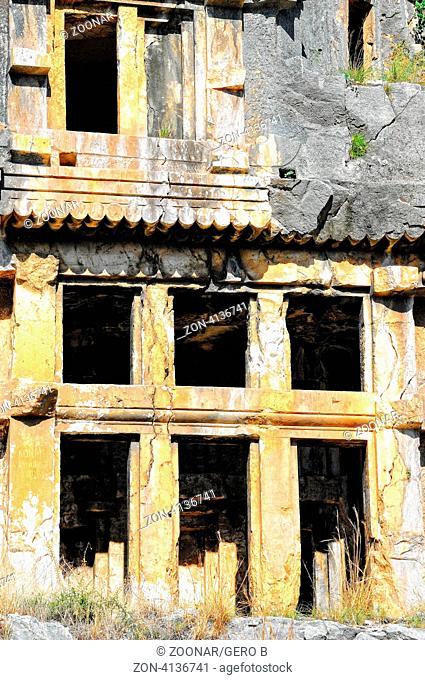 Ruine Felsgrab in Myra Türkei, Ruin rock grave in Myra Turkey