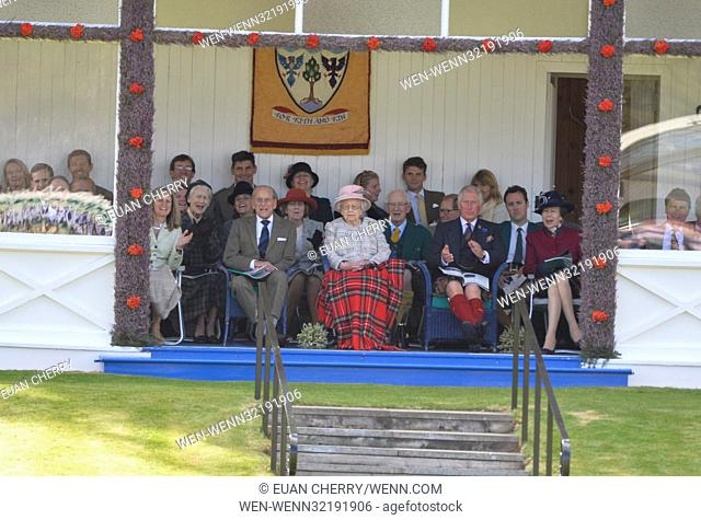 Members of the Royal Family attend the annual Braemar Highland games in Scotland. Featuring: Queen Elizabeth II, Prince Philip Where: Braemar