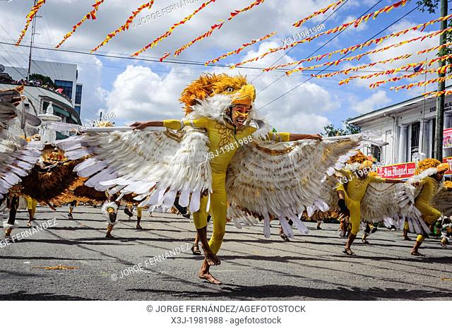 "Participants of the dance contest during the celebration of Dinagyang in homage to """"The Santo Niño"""", the patron saint of many Philippino cities"