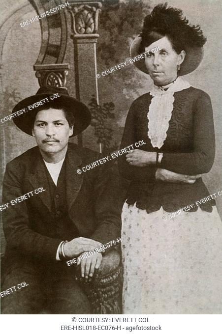 Belle Starr 1848-1889 with her manacled lover, Blue Duck, after his arrest for the murder of a farmer. He was one of several outlaw lovers she took from 1887...