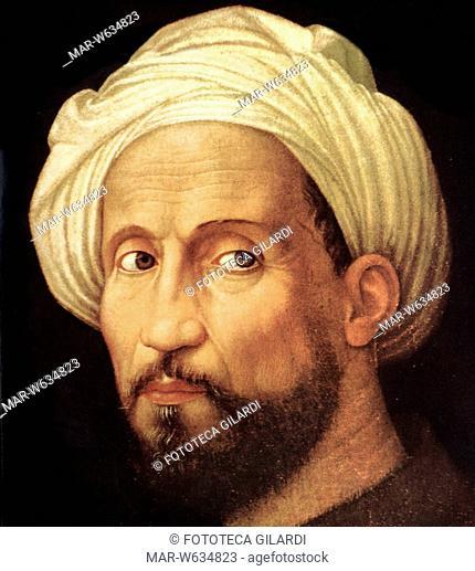 Michelangelo Buonarroti, print XX century portrait by the Bugiardini, his help at the time when the frescoed Sistine Chapel