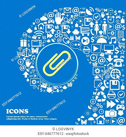 Paper clip icon . Nice set of beautiful icons twisted spiral into the center of one large icon. Vector illustration
