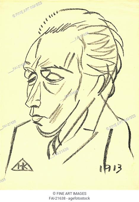 Portrait of the Poet Velimir Khlebnikov (1885-1922). Kulbin, Nikolai Ivanovich (1868-1917). Lithograph. Russian avant-garde. 1913. Russia