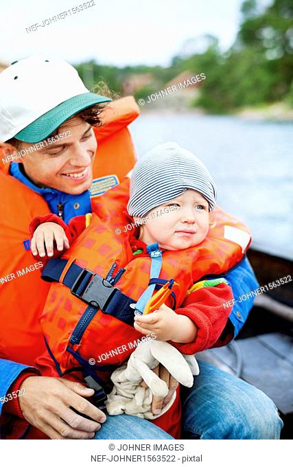 Father with son on boat