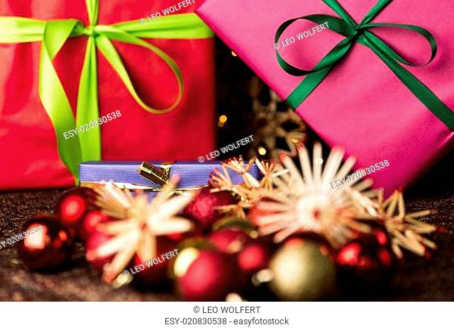 Ribbons, gifts, baubles and straw stars