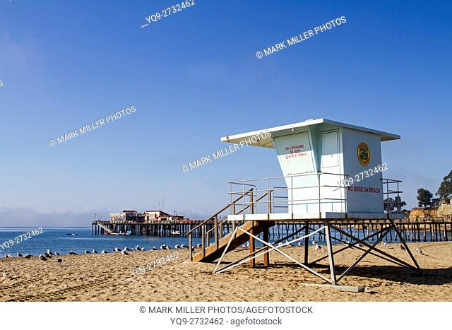 USA, California, Capitola, Beach Lifeguard Station