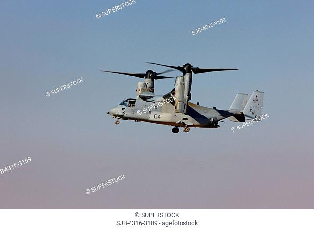 A U.S. Marine Corps MV-22 Osprey flying in helicopter mode, Camp Bastion, Helmand Province, southern Afghanistan