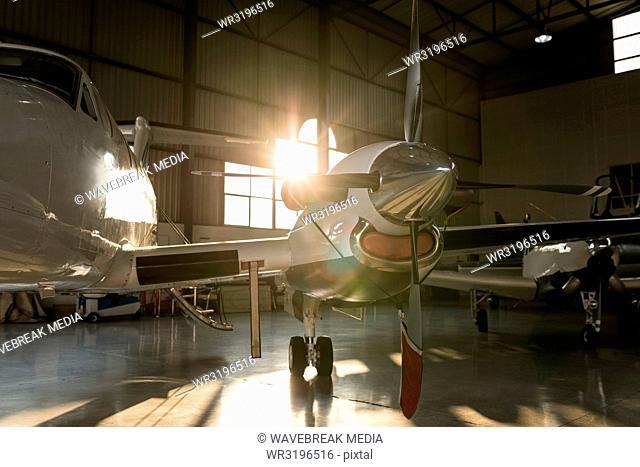 Private jet in hangar