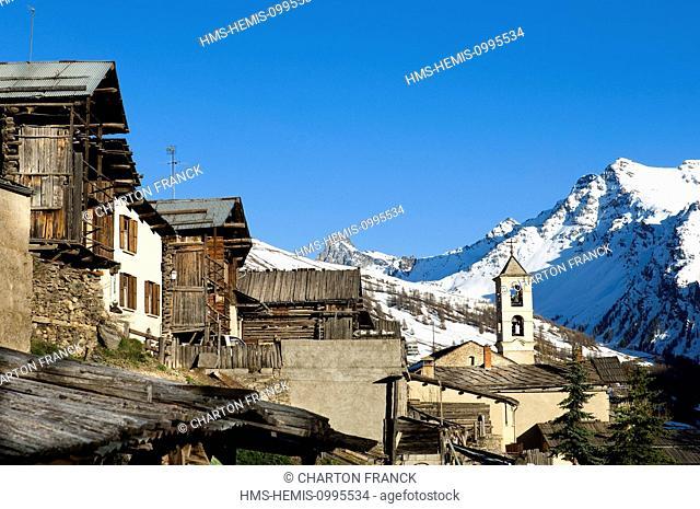 France, Hautes Alpes, Parc Naturel Regional du Queyras (Regional Natural Park of Queyras), Saint Veran, labelled Les Plus Beaux Villages de France (The Most...