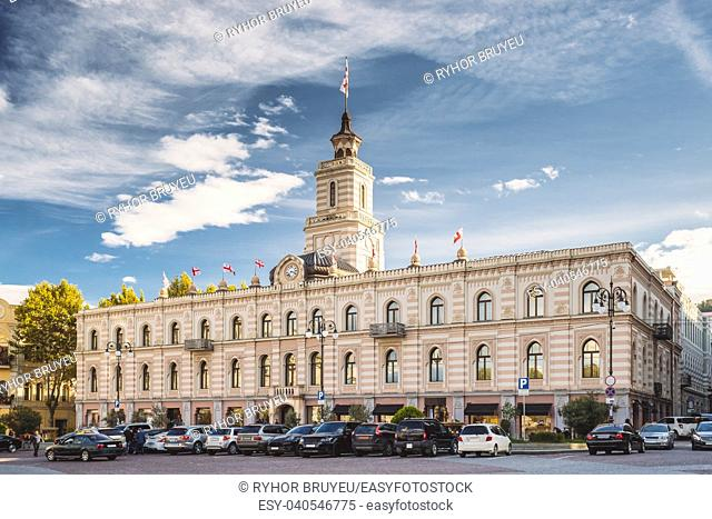 Tbilisi, Georgia. Tbilisi City Hall In Freedom Square In City Center. Clock-towered Edifice. It Houses The Mayorâ. . s Office And The City Assembly