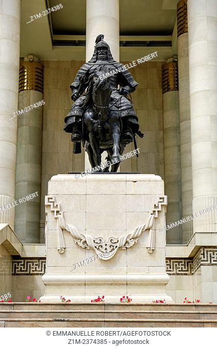 Asia, Mongolia, Ulaan Baatar, Parliament of Mongolia, statue of soldier