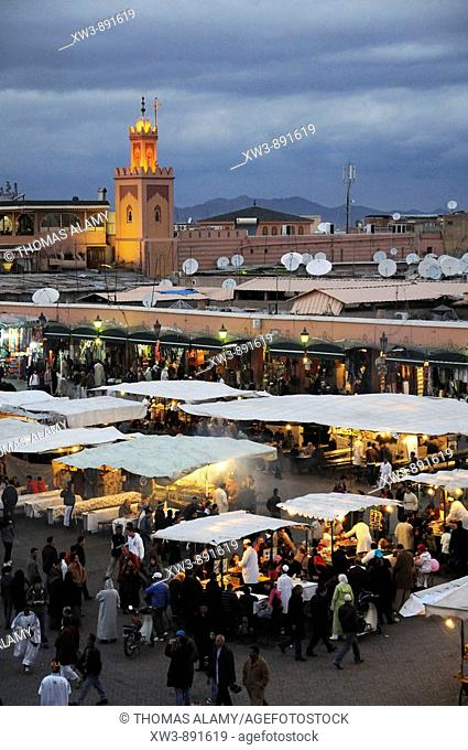 Morocco, Marrakech  Jemaa El-Fna square viewed at night