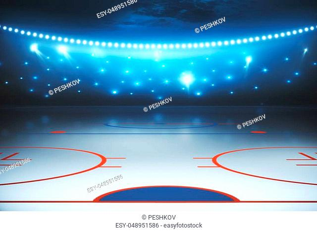 Abstract illuminated hockey field background. Sports concept. 3D Rendering