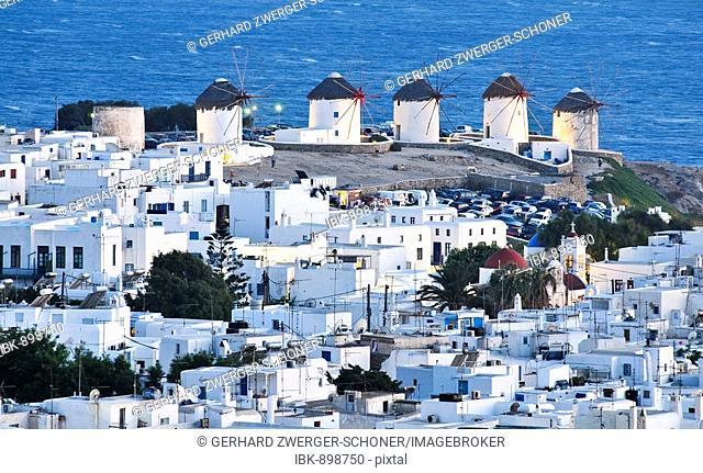 Windmills, the landmark of Mykonos, Cyclades, Greece, Europe