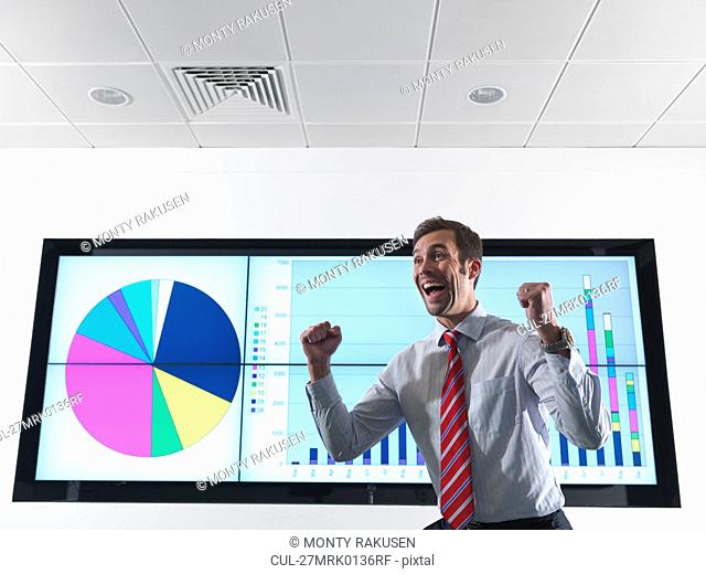 Successful businessman with graph