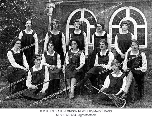 Lacrosse as a sport for women at Cambridge University: the Newnham College lacrosse team, 1921. Newnham College was founded in 1871