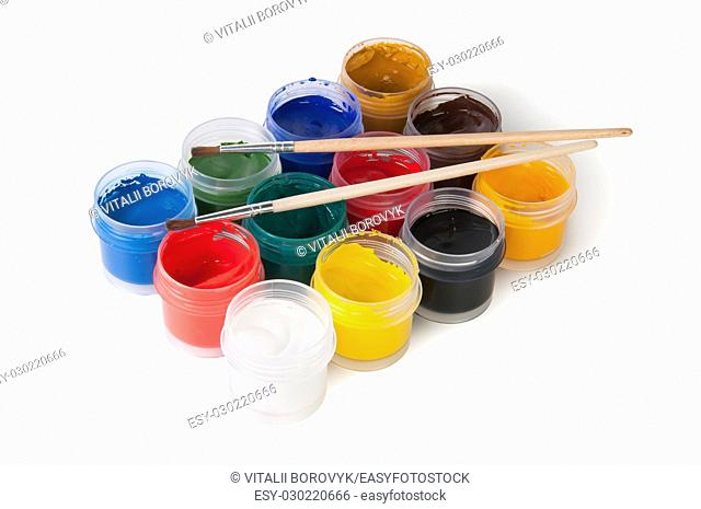 Jars With Gouache And Paint Brushes Isolated On White