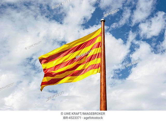 Catalan flag waving in the wind, Barcelona, ??Spain