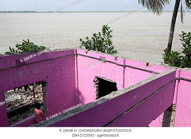 DHAKA, BANGLADESH - AUGUST 13 : Bangladeshi people take away their materials from building home being swallowed by the fury Padma River at Dohar Upazilla in...