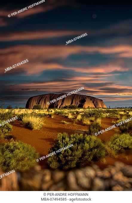 Ayers Rock (Uluru) at sunset, Northern Territory, Australia