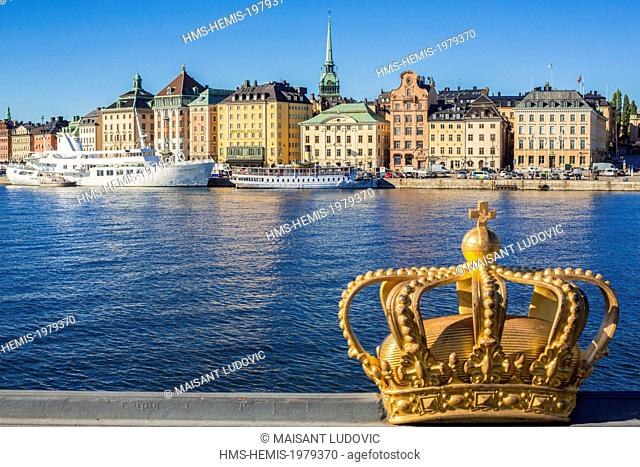 Sweden, Stockholm, Norrmalm district, view from the bridge over Skeppsholmsbron Gamla Stan (Old Town) and the German Church