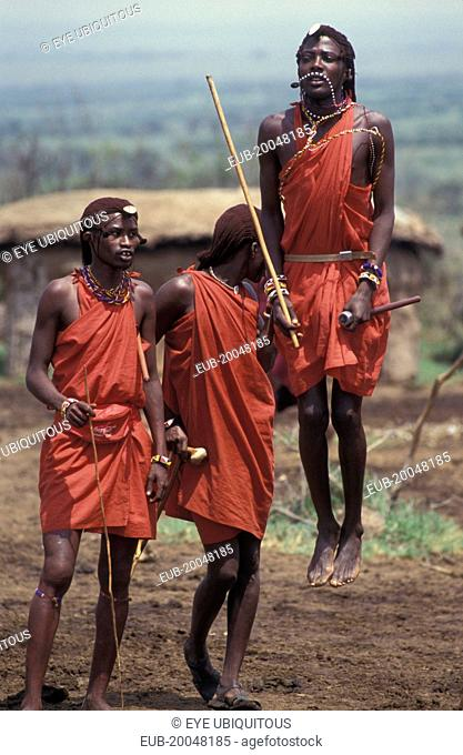 Maasai Moran measure each others capacity to jump springing from a standing start. They often sing in a group as they do this each taking turns to jump