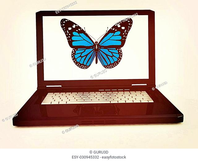 butterfly on a notebook on a white background. 3D illustration. Vintage style