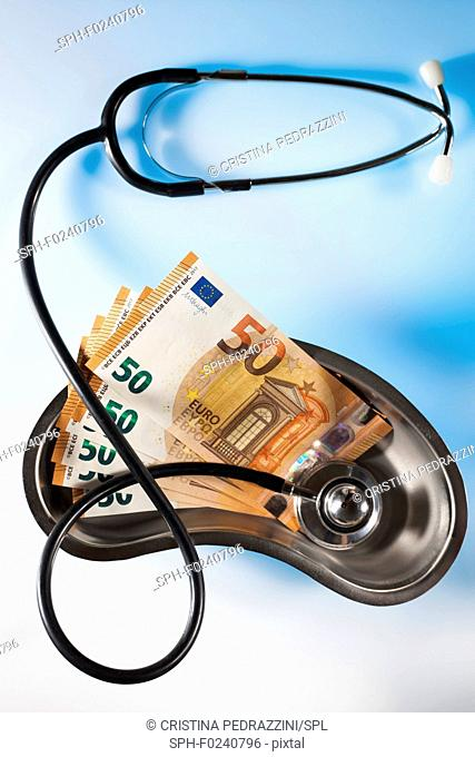 Stethoscope and money depicting medical costs in Europe