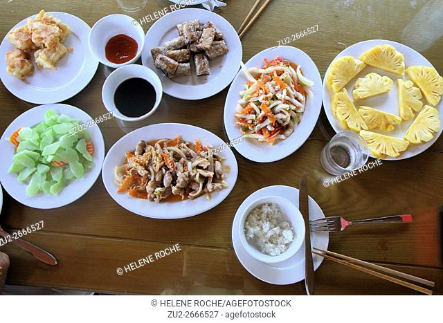 Selection of Vietnamese food, Halong Bay, Vietnam, Asia