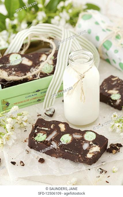 Chocolate fridge cake with mint and a bottle of milk