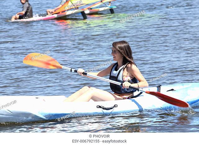 Woman on a kayaking excursion