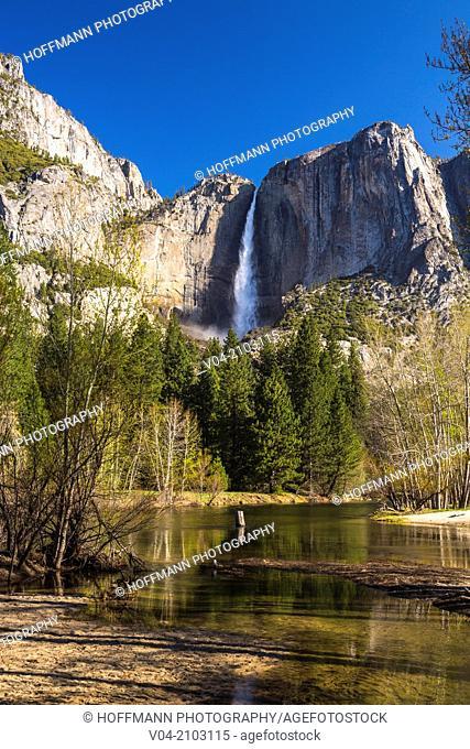The beautiful Yosemite Falls in the Yosemite National Park, California, USA