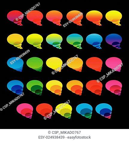 Rainbow colorful transparent chat bubbles set on black backgroun