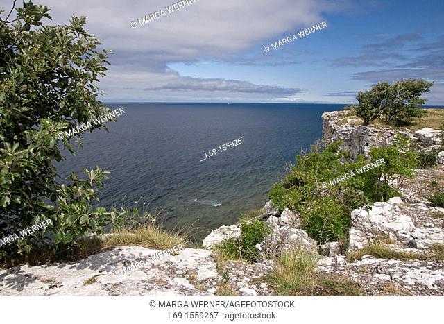 Most popular cliff line 'Hoegklint', western coast of Gotland, Sweden, Europe
