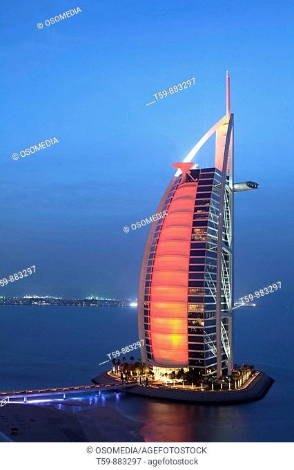 Burj Al Arab Hotel at dusk, Dubai, United Arabian Emirates