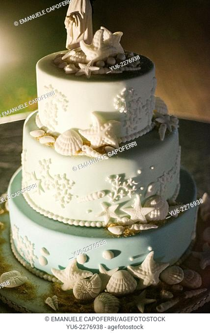 Wedding cake decoration with seashells