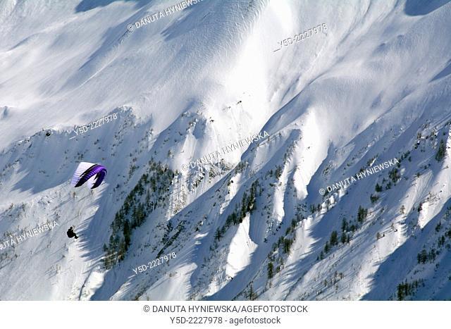 Paragliding over Swiss Alps, Bernese Alps, Fiescheralp, canton Valais, Switzerland, Europe