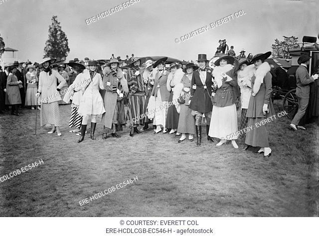 Women modeling At Rockaway Hunt Meet, 'Fashion Mannekins', photograph circa early 1910s