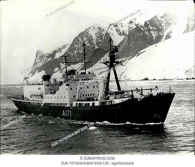 Apr. 04, 1976 - HMS Endurance Heads For Home From The Antarctic Seen en-route for home from the Antarctic is the Royal Navy's 2,640 - ton ice patrol ship