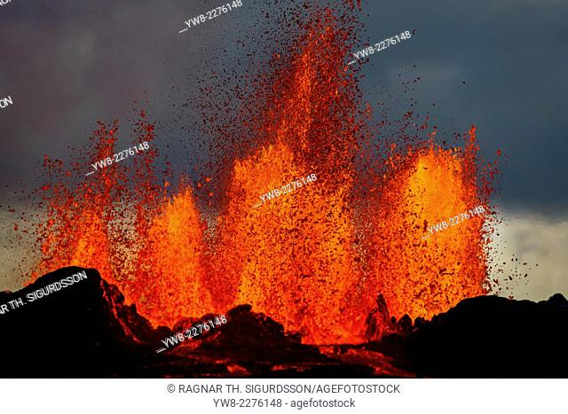 Lava fountains at the Holuhraun Fissure eruption near Bardarbunga Volcano, Iceland. August 29, 2014 a fissure eruption started in Holuhraun at the northern end...