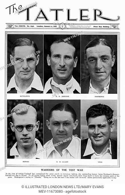 England cricketers of 1933 featured on the cover of The Tatler at the time of a tour in Australia where they played five test matches and won the Ashes four...