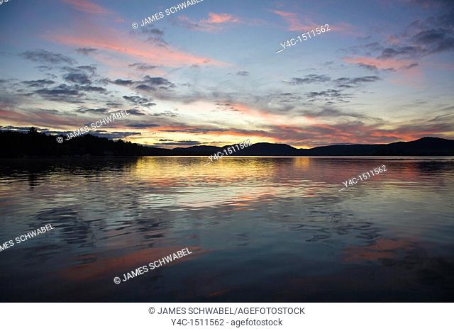 Sunset over Fourth Lake of the Fulton Chain of Lakes from Inlet in the Adirondack Mountains of New York State