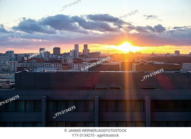 View over the Potsdamer Platz area in Berlin at sunset